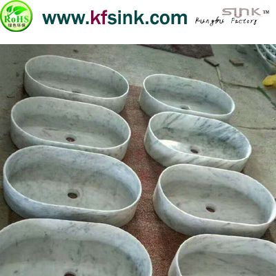 Oval Shaped Carrara Marble Sink