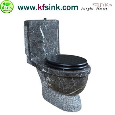 Black Vein Marble Stone Toilet