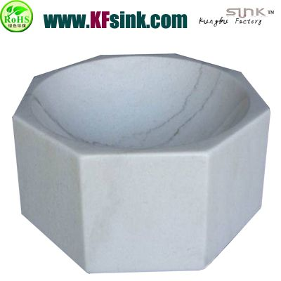Octagon White Marble Bathroom Sink