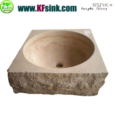 Beige Travertine Stone Bathroom Sink