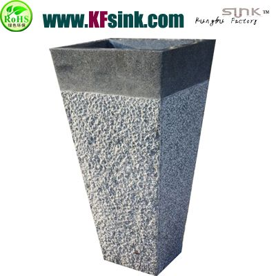 Grey Granite Stone Pedestal Sink