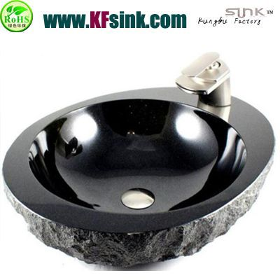 Oval Black Stone Bathroom Sink Bowl