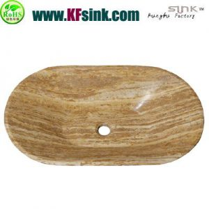 Polish Vessel Beige Travertine Sink