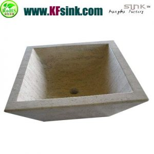 White Travertine Stone Vessel Sinks