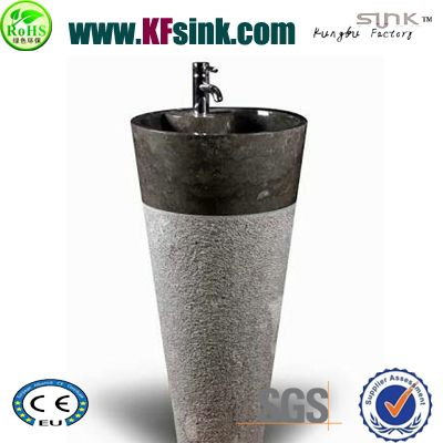 Black Stone Pedestal Wash Basin