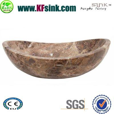 Dark Emperador Marble Vessel Bathtub
