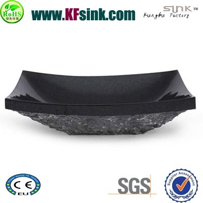 Natural Split Black Stone Vessel Sinks