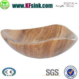 Yellow Wooden Marble Vessel Sinks