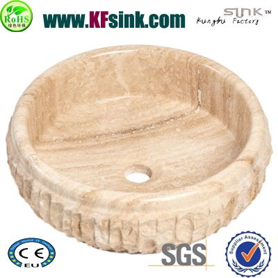 Chiseled Travertine Vessel Sinks