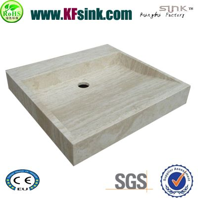 White Travertine Bathroom Sink