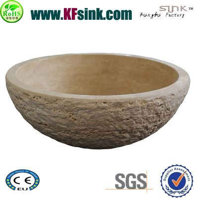 Yellow Travertine Vessel Sinks Bowl