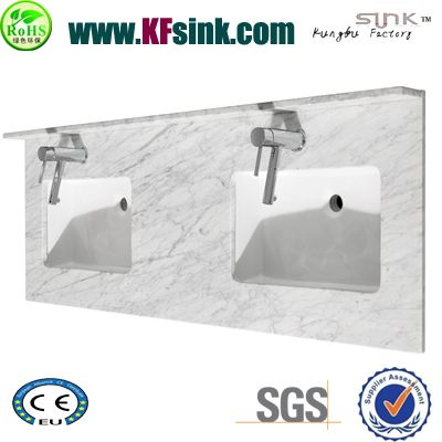 Double Sink Carrara Marble Vanity Top
