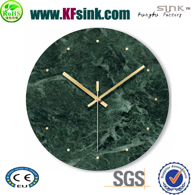 Green Round Marble Wall Clock