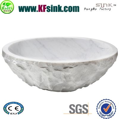Natural Split Carrara Marble Vessel Sink