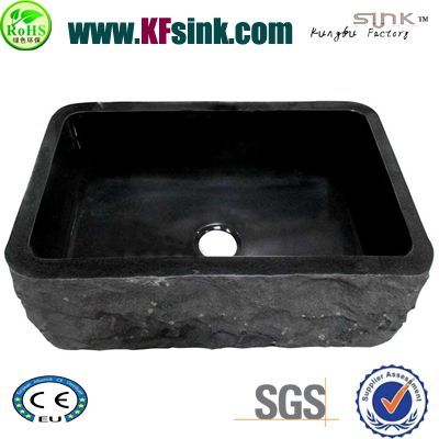 Chiseled Black Granite Sink Bathroom