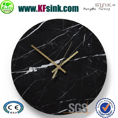 round black marble wall clock