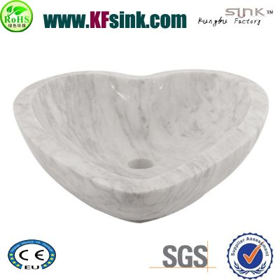 Heart Shape White Marble Sinks