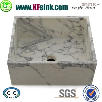 Single Bowl Arabescato Marble Sink Kitchen