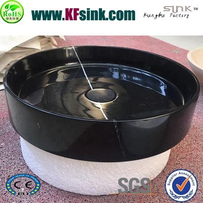 Circular Nero Marquina Marble Vessel Sinks