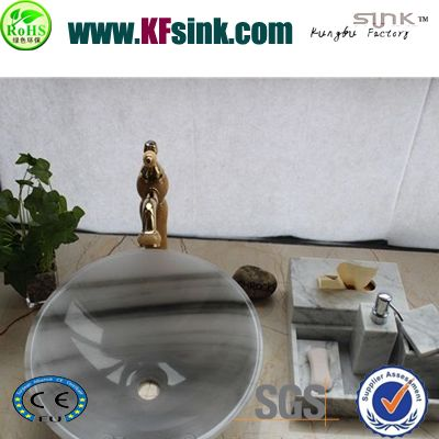 Grey Marble Bathroom Sink Round Basin