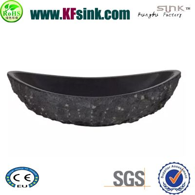 Black Oval Granite Vessel Basin