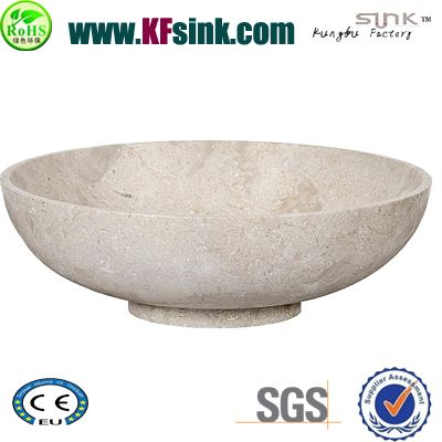 Honed Beige Marble Bowl