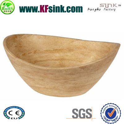 Yellow Vessel Traverine Bathtub