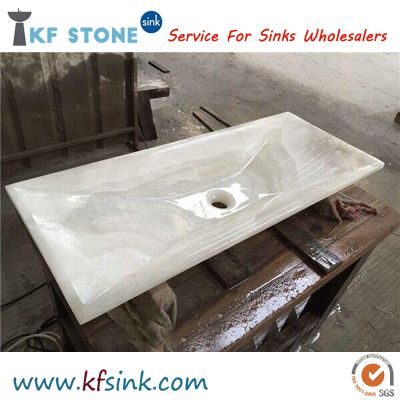 White Onyx Bathroom Single Vessel Sink