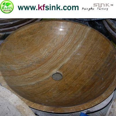 Yellow Wooden Marble Sink Bowl