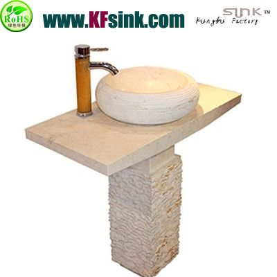 Split Beige Marble Bathroom Sink Pedestal