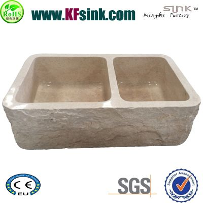 Beige Double Marble Sink Bowl