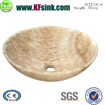 Yellow Onyx Round Stone Sink