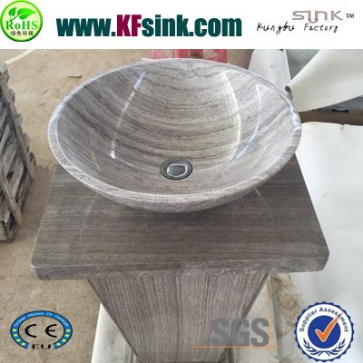 Pedestal Grey Wood Marble Sink