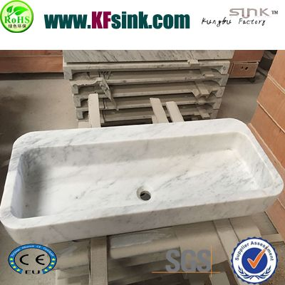 Carrara White Marble Bathroom Sink