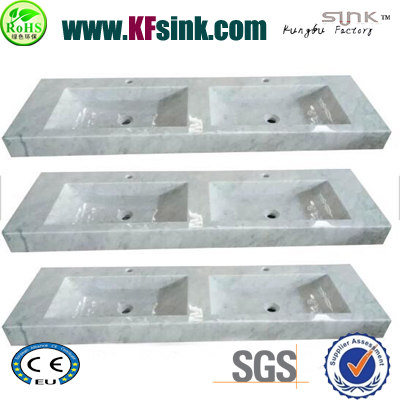 Large Size Double Sinks Marble Vanity Top