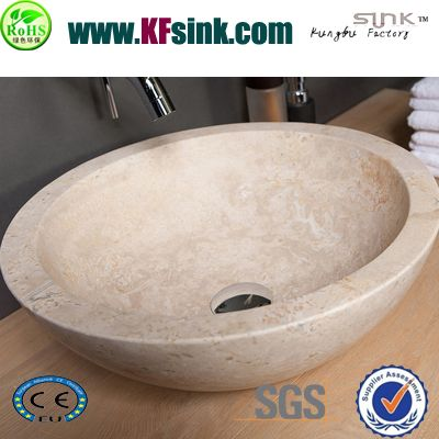 Beige Travertine Vessel Sinks For Vanity